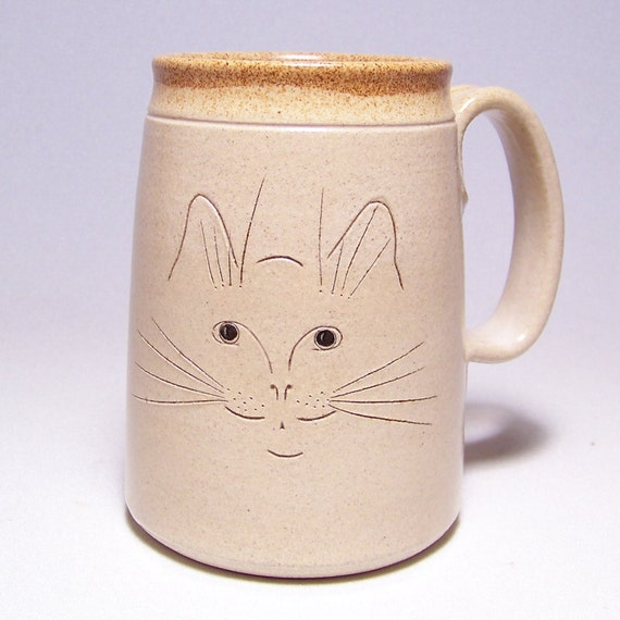Cat Face Pottery  Mega Coffee Mug Limited Series 223 (microwave safe) 24 ounce