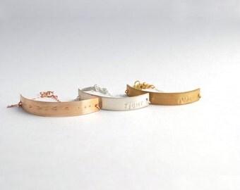 Long Bar custom silver rose gold bracelets