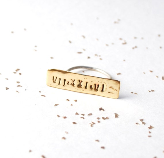Items Similar To Roman Numeral Custom Date Ring On Etsy
