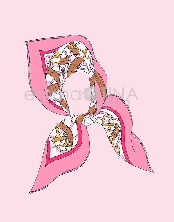 Hermes Silk Scarf Pink Fashion Illustration Art Print
