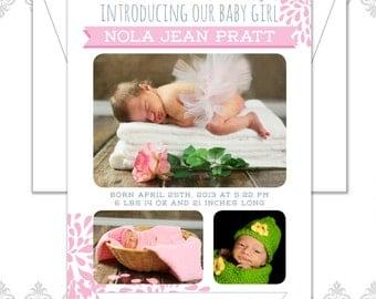 Modern Bloom Photo Baby Announcement