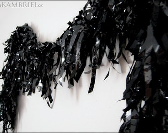 Vegan-Friendly Shiny Black Boa - Made by Kambriel - Brand New & Ready to Ship!