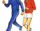 Mens Track Suit pattern Retro athletics Exercise pattern for men vintage sewing pattern jogging suit Butterick 3050 Sz Medium Uncut