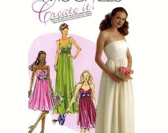 Wedding dress pattern bridesmaid dress evening dress sewing pattern McCalls 5806 Sz 14 to 20 UNCUT