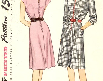 1940s dress pattern vintage one piece dress sewing pattern Simplicity 1568 Bust 36 Retro pin up style