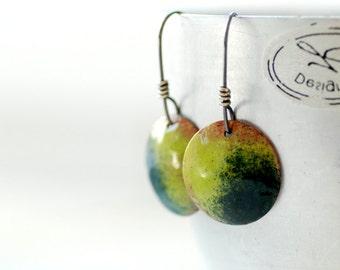 Enameled Copper Earrings, Green and Blue Earrings, Geometric Earrings, Sour Green, Rustic Earrings, Copper, Silver, Dangle Drop Earrings