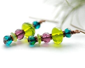 Jewel tone Earrings, Copper Earrings, Long Dangle Earrings, Glass Jewelry, Bright Jewelry, Neon Jewelry, Green and Purple Earrings