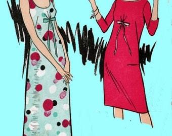 1960s Dress or Maxi Dress Advance 3535 Womens Mod Madmen Low Scooped Neckline Vintage Sewing Pattern 60s era Pattern Size 12 Uncut