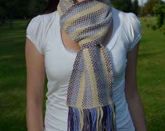 10% MOTHERSDAY code - Handwoven scarf - alpaca with violet, light blue and beige stripes