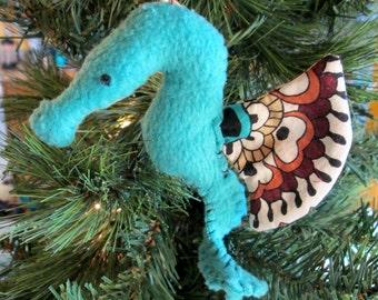 Seahorse Softie Ornament (robeggblue/floral)