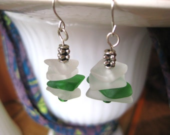 Stacked Beachglass inspired earrings kelly green tumbled glass on silver plated wires beach wedding jewelry