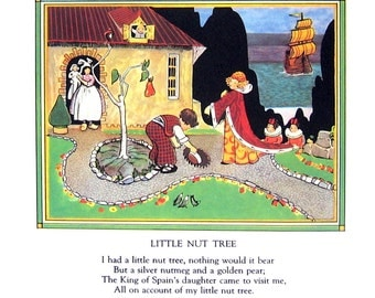 Little Nut Tree  - Mother Goose Rhyme - 1944 Vintage Page 7.5 x 8