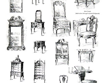 1947 Vintage Book Page - Chippendale Furniture Design, Queen Anne Furniture Design