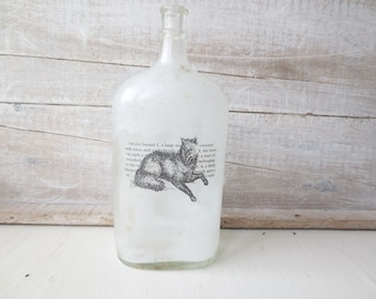 Modern Woodland - Black Wolf - Scandinavian Style - Reclaimed - Bud Vase - Minimalist Eco Decor - Old Bottle - Into the Wild