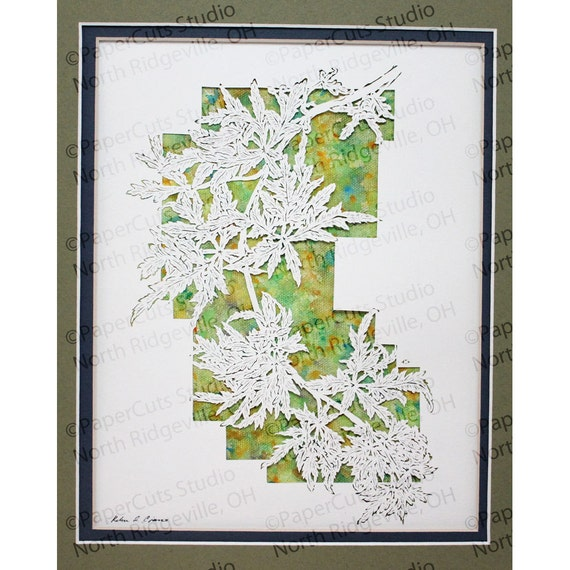 Seiryu (Japanese Maple) Papercutting, Hand-cut Original, Watercolor, Final Edition