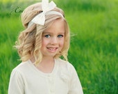 Flower Girl Bow - Flower Girl Headband - Girls Hair Bow - White Hair Bow - Ivory Hair Bow Clips - Children's Head Piece- First Communion