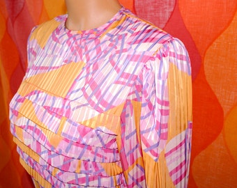 vintage 70's party blouse PINK layer shimmy oleg cassini silk tiered fancy geometric shirt 4 Small