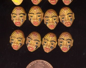 12 Vintage West German Hand Painted TRIBAL MASK Resin Cabochons 13x9mm No.4