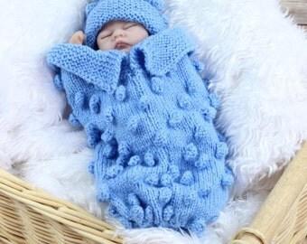 KNITTING PATTERN Preemie Bobble Cocoon Knitting Pattern in 2 Sizes PDF 258 Digital Download