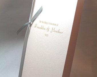 Vintage Wedding, Deco Ceremony Program, Blush Pink, Soft Pink and Gray, Etsy Weddings, Paper Goods, Shimmer Paper