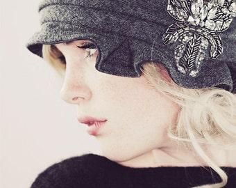 Flapper Hat Knit Cloche In Gray Wool With Pewter and Crystal Beaded Applique // Handmade