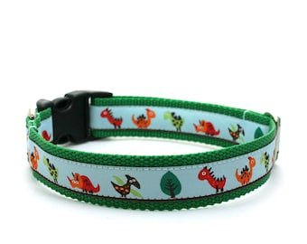 "1"" dog collar Dino Land buckle or martingale collar"