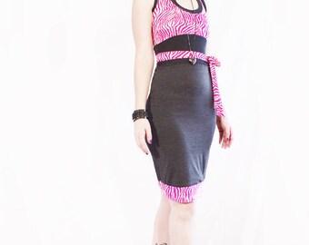 70% OFF SALE Agoraphobix gray & pink zebra print racer back bodycon dress   Size Extra Small Small