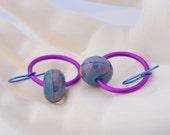SALE on Teal Fuschia Hoop Earrings - Berry Ripe lampwork earrings