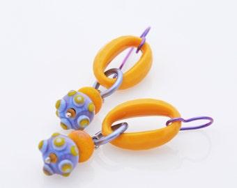 Wheat and Lavender earrings - Saffron - lampwork, niobium, anodized aluminum