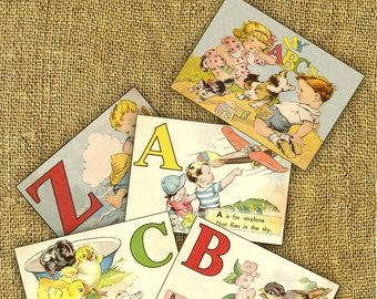 Printable Vintage Alphabet ABC Flash Cards Instant Download School Supply Children Back to School