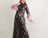 Vintage Mr. Blackwell 1960s Maxi Dress - Lioness Paisley Feather Cocktail Gown - Large