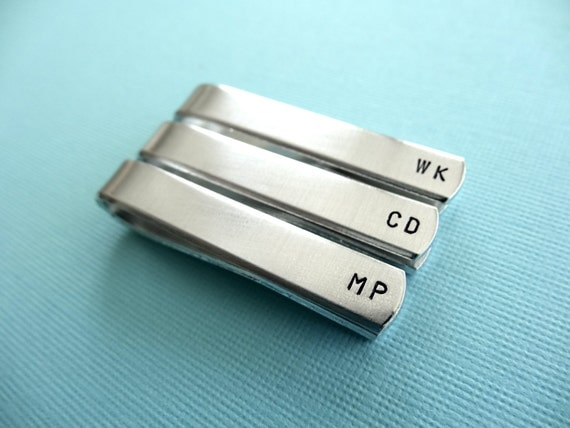 Personalized Tie Bar - Initials - Custom Tie Clip - Set of 3 - Groomsman Gift