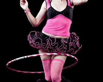 Raver set tutu skirt and boot covers mini micro Adult trimmed race gogo dance team costume culb wear --You Choose Size- Sisters of the Moon