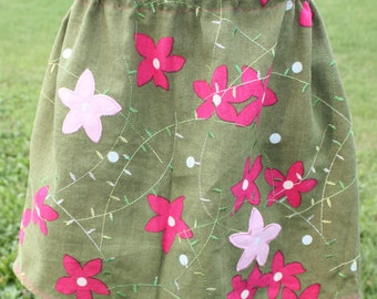 Size 5 Green with pink flowers skirt