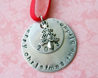 Hand Stamped Personalized Family Christmas Ornament with Date 2017