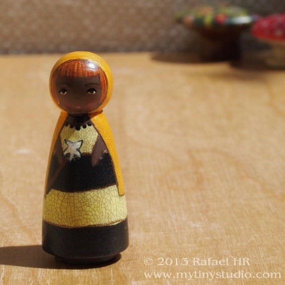 Tiny Muse Fairy Bumble Bee Wooden Peg People Doll Brown Eyes African American