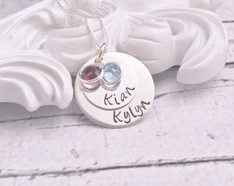 Personalized Mom Necklace with birthstones, Sterling Silver Necklace, Kids Name Necklace, Personalized necklace, Hand Stamped Custom Jewelry