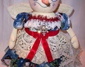 Primitive Folk Art Christmas Snow Lady Angel Standing Doll