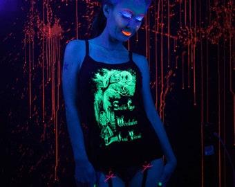 Glow in the Dark Alice in Wonderland We're All Mad Here Screenprint Spaghetti Strap Tank Top