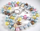 Multi Colored Pearl Necklace Hand knotted Sterling Silver Clasp, closing shop