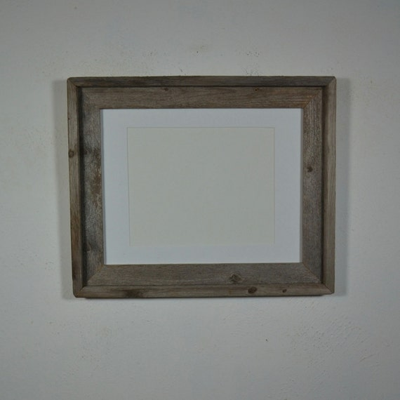 11x14 Gray Barnwood Photo Frame With White 8x10 Mat