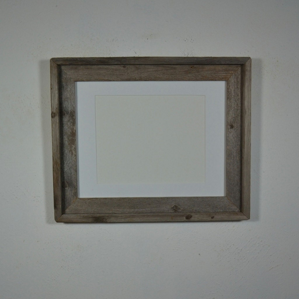 11x14 Gray Barnwood Photo Frame With White 8x10 Mat