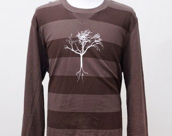 Men's Shirt / Upcycled Long Sleeve Casual Tee / Screen Printed Tree / Size XL