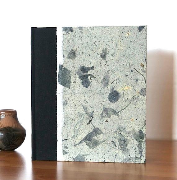 Journal Blank Sketchbook Slate Mango Leaf - wedding guest book, sketchbook, travel journal, personalized journal