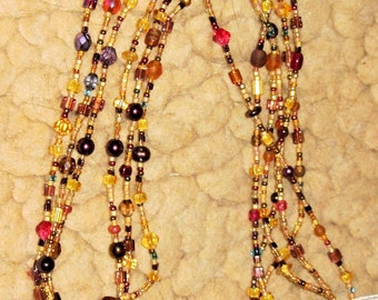 Topaz, Cranberry, and Purple Necklace