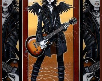 Gothic Angel Rocker Chic Guitar Fairy Nika Signed Fine Art Print