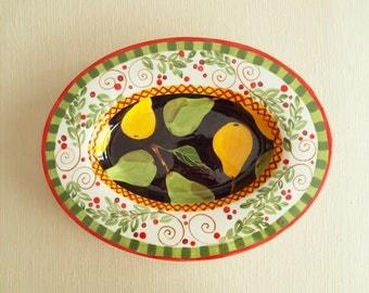 Large Platter Turkey Platter Ceramic Platter Family Serving Parisian Pear XLg Oval Rim Platter Gift for Mom Hostess Gift Couple Gift PP