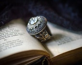 Vintage Rhinestone Button Ring, Flower Vine, Leaf Vine, Statement Ring, Mixed Metal, Shabby Chic, Dark Romance, Sparkly Rhinestone