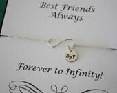 Best Friend Infinity Bracelet, Sterling Silver Infinity Jewelry, Friendship Gift, Monogrammed Charm, Best Friends, Sterling Silver Bracelet