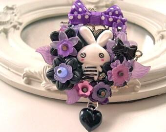 Hair Clip kawaii fairy kei lolita accessory white bunny rabbit kanzashi purple